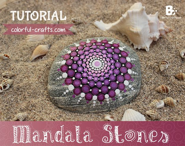DIY Boho Decor Ideas - Mandala Stones DIY - DIY Bedroom Ideas - Cheap Hippie Crafts and Bohemian Wall Art - Easy Upcycling Projects for Living Room, Bathroom, Kitchen #boho #diy #diydecor