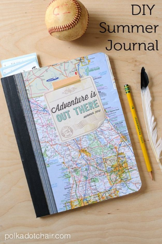 DIY Ideas With Maps - Map Journal - Easy Crafts, Home Decor, Art and Gifts Your Can Make With A Map - Pinboard, Canvas, Painting, Paper Flowers, Signs Projects