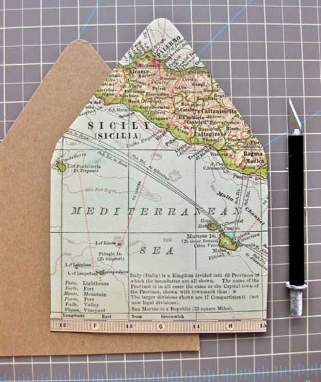 DIY Ideas With Maps - Map Lined Envelopes - Easy Crafts, Home Decor, Art and Gifts Your Can Make With A Map - Pinboard, Canvas, Painting, Paper Flowers, Signs Projects