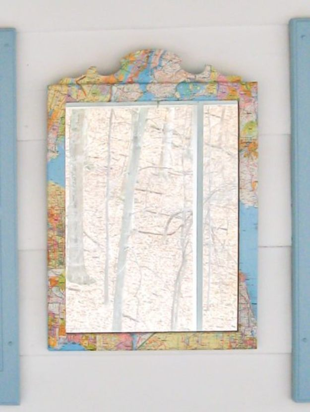 DIY Ideas With Maps - Map Mirror - Easy Crafts, Home Decor, Art and Gifts Your Can Make With A Map - Pinboard, Canvas, Painting, Paper Flowers, Signs Projects