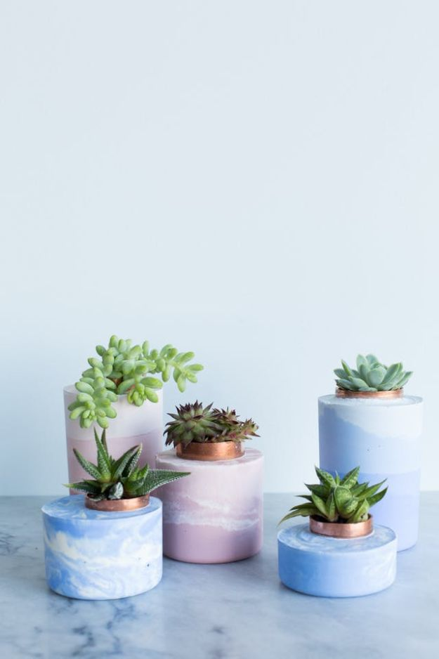 DIY Projects With Concrete - Marbled and Ombre Concrete Planters - Easy Home Decor and Cheap Crafts Made With Cement - Ideas for DIY Christmas Gifts, Outdoor Decorations