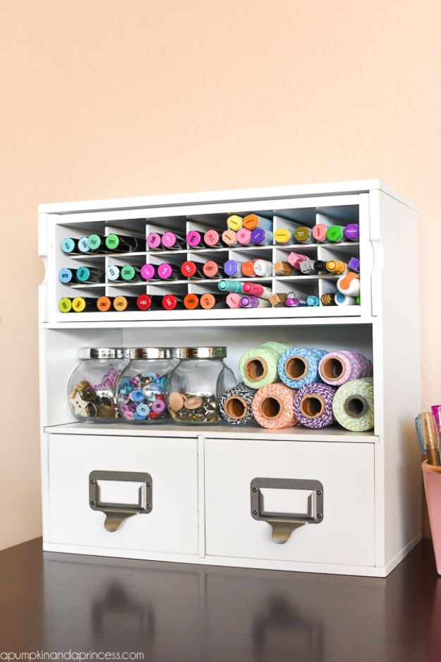 Craft Room Organization Ideas - Markers And Twines Organizer - DIY Dollar Store Projects for Crafts - Budget Ways to Declutter While Organizing Supplies - Shelves, IKEA Hacks, Small Space Ideas