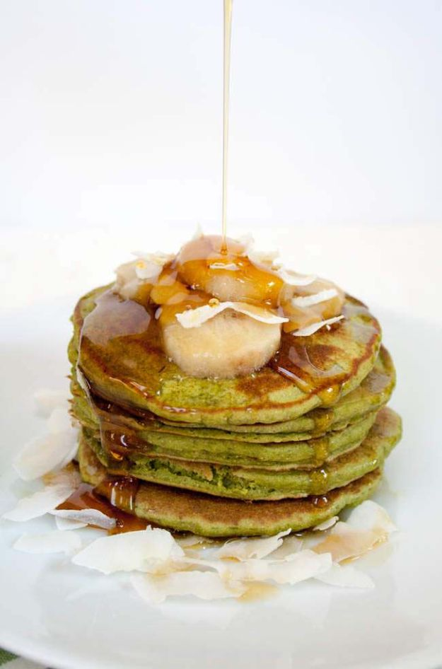Best Pancake Recipes - Matcha Banana Pancakes - Homemade Pancakes With Banana, Berries, Fruit and Maple Syrup - How To Make Pancake Mix at Home - Gluten Free, Low Fat and Healthy Recipes - Breakfast and Brunch Recipe Ideas - Silver Dollar, Buttermilk, Make Ahead and Quick Versions With Strawberries and Blueberries #pancakes #pancakerecipes #recipeideas #breakfast #breakfastrecipes http://diyjoy.com/pancake-recipes