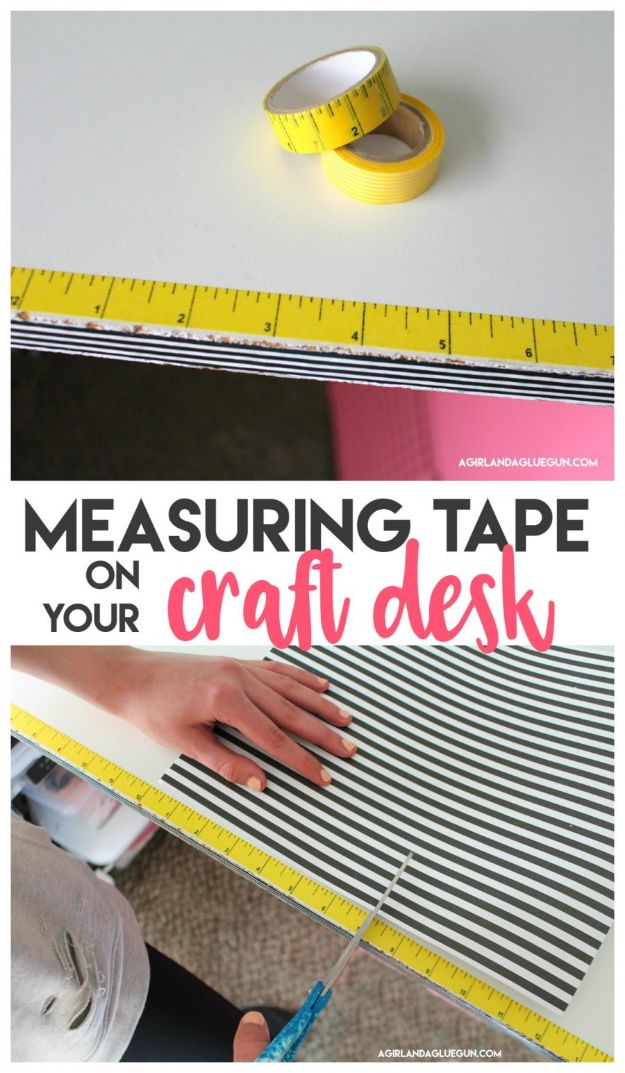 DIY Craft Room Ideas and Craft Room Organization Projects - Measuring Tape On Your Craft Desk - Cool Ideas for Do It Yourself Craft Storage, Craft Room Decor and Organizing Project Ideas - fabric, paper, pens, creative tools, crafts supplies, shelves and sewing notions