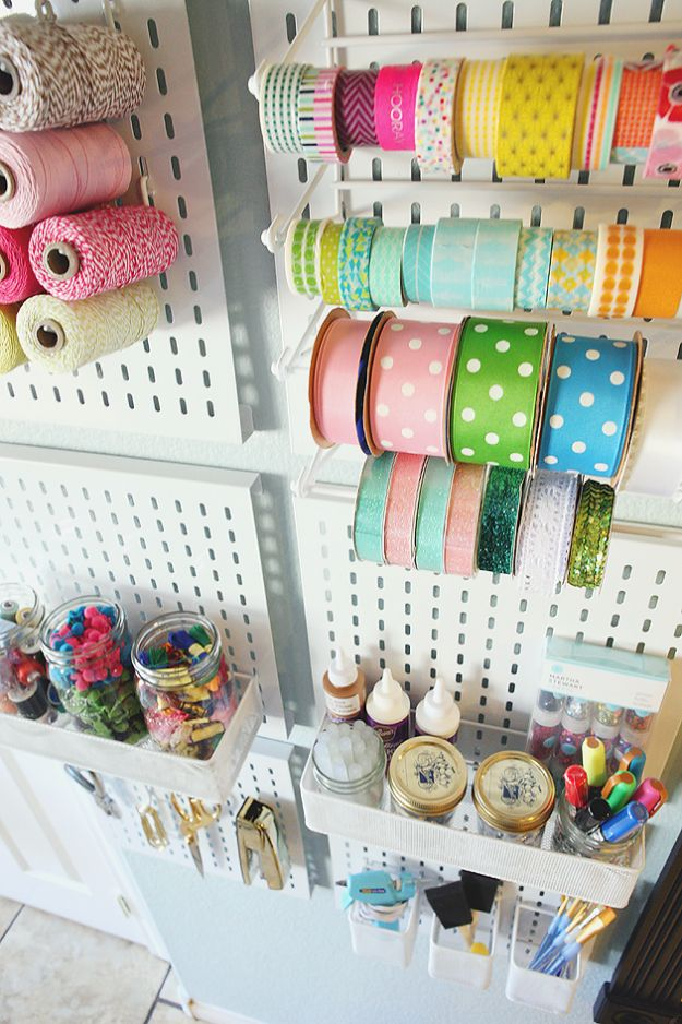 Craft Room Organization Ideas - Metal Slat Wall Pack - DIY Dollar Store Projects for Crafts - Budget Ways to Declutter While Organizing Supplies - Shelves, IKEA Hacks, Small Space Ideas
