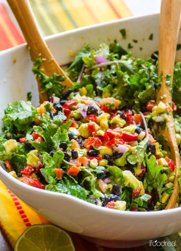 Best Kale Recipes - Mexican Kale Salad - How to Cook Kale at Home - Healthy Green Vegetable Cooking for Salads, Soup, Lunches, Stir Fry and Dinner - Kale Chips. Salad, Shredded, Cooked, Fresh and Sauteed Kale - Vegan, Vegetarian, Keto, Low Carb and Lowfat Recipe Ideas #kale #kalerecipes #vegetablerecipes #veggies #recipeideas #dinnerideas http://diyjoy.com/best-kale-recipes