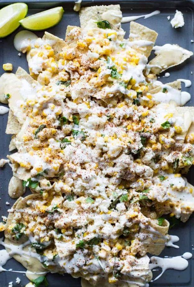 Best Mexican Food Recipes - Mexican Street Corn Nachos - Authentic Mexican Foods and Recipe Ideas for Casseroles, Quesadillas, Tacos, Appetizers, Tamales, Enchiladas, Crockpot, Chicken, Beef and Healthy Foods - Desserts and Dessert Ideas Like Churros , Flan amd Sopapillas #recipes #mexicanfood #mexicanrecipes #recipeideas #mexicandishes http://diyjoy.com/mexican-food-recipes