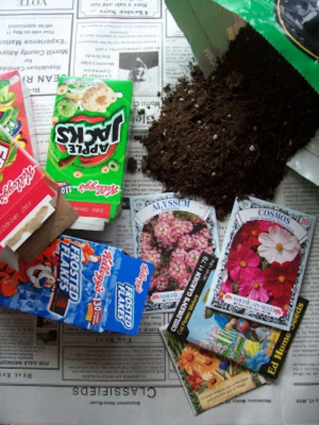 Cool DIY Ideas With Cereal Boxes - Mini Cereal Box Seed Starters - Easy Organizing Ideas, Cute Kids Crafts and Creative Ways to Make Things Out of A Cereal Box - Cheap Gifts, DIY School Supplies and Storage Ideas http://diyjoy.com/diy-ideas-cereal-boxes