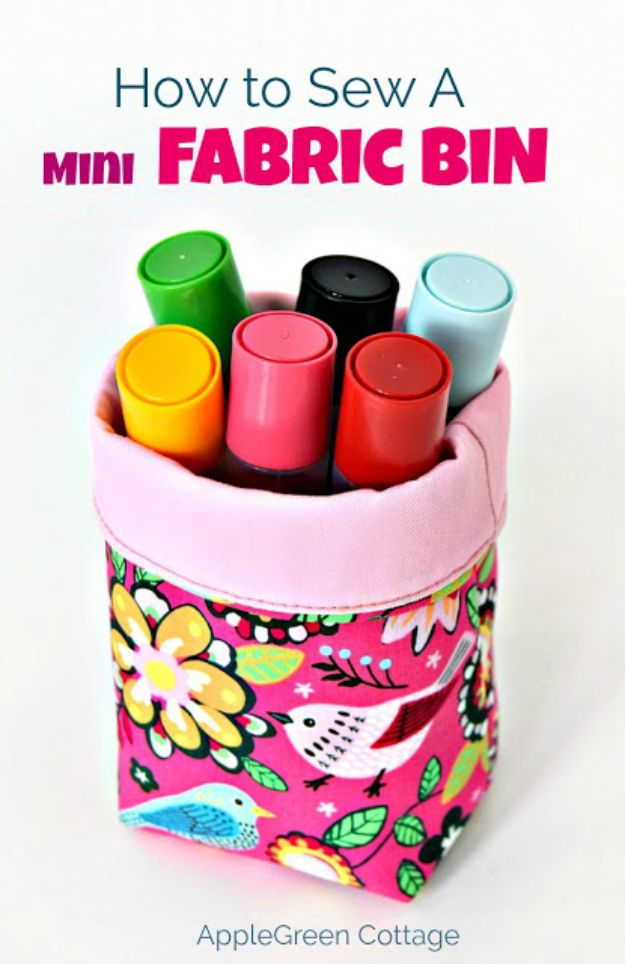 DIY Sewing Projects for the Home - Mini Fabric Bin- Easy DIY Christmas Gifts and Ideas for Making Kitchen, Bedroom and Bathroom Decor - Free Step by Step Tutorial to Sew