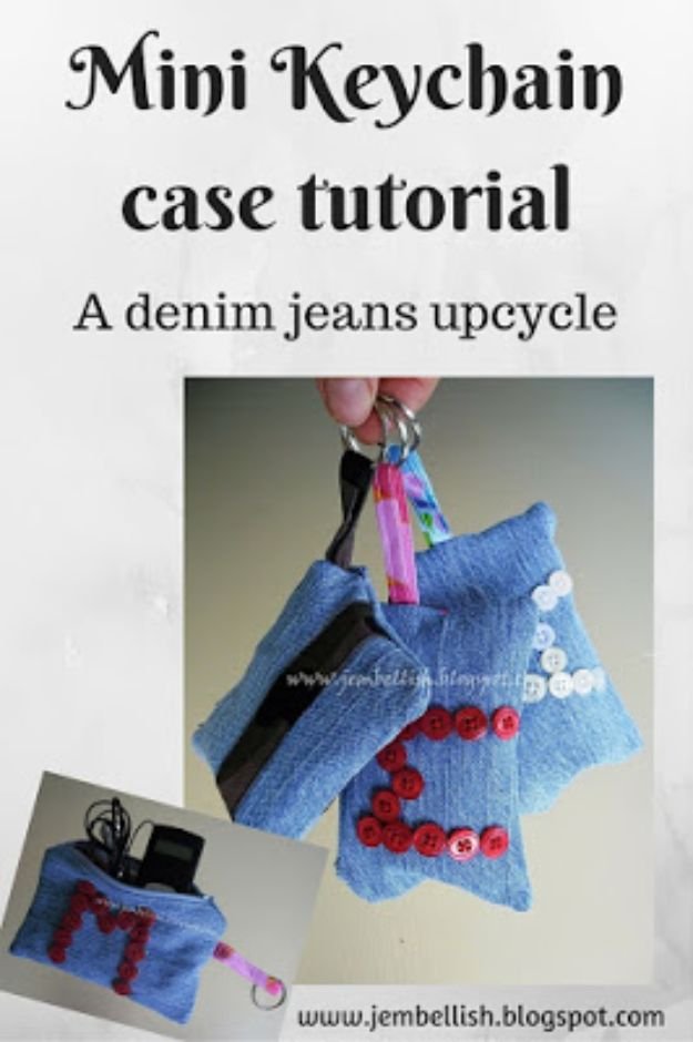 Blue Jean Upcycles - Mini Keychain Case - Ways to Make Old Denim Jeans Into DIY Home Decor, Handmade Gifts and Creative Fashion - Transform Old Blue Jeans into Pillows, Rugs, Kitchen and Living Room Decor, Easy Sewing Projects for Beginners http://diyjoy.com/diy-blue-jeans-upcyle-ideas