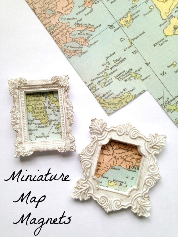 DIY Ideas With Maps - Miniature Map Magnets - Easy Crafts, Home Decor, Art and Gifts Your Can Make With A Map - Pinboard, Canvas, Painting, Paper Flowers, Signs Projects
