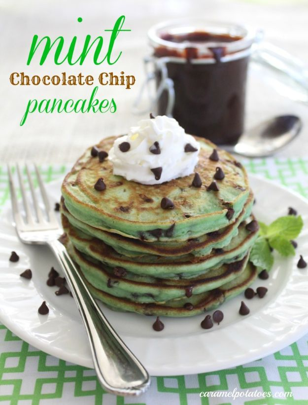 Best Pancake Recipes - Mint Chocolate Chip Pancakes - Homemade Pancakes With Banana, Berries, Fruit and Maple Syrup - How To Make Pancake Mix at Home - Gluten Free, Low Fat and Healthy Recipes - Breakfast and Brunch Recipe Ideas - Silver Dollar, Buttermilk, Make Ahead and Quick Versions With Strawberries and Blueberries #pancakes #pancakerecipes #recipeideas #breakfast #breakfastrecipes http://diyjoy.com/pancake-recipes