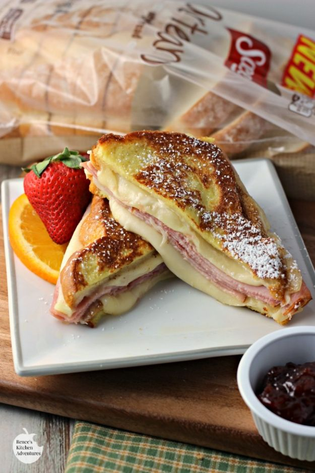 Best Recipes for the Cheese Lover - Monte Cristo Style Grilled Cheese Sandwich - Easy Recipe Ideas With Cheese - Homemade Appetizers, Dips, Dinners, Snacks, Pasta Dishes, Healthy Lunches and Soups Made With Your Favorite Cheeses - Ricotta, Cheddar, Swiss, Parmesan, Goat Chevre, Mozzarella and Feta Ideas - Grilled, Healthy, Vegan and Vegetarian #cheeserecipes #recipes #recipeideas #cheese #cheeserecipe