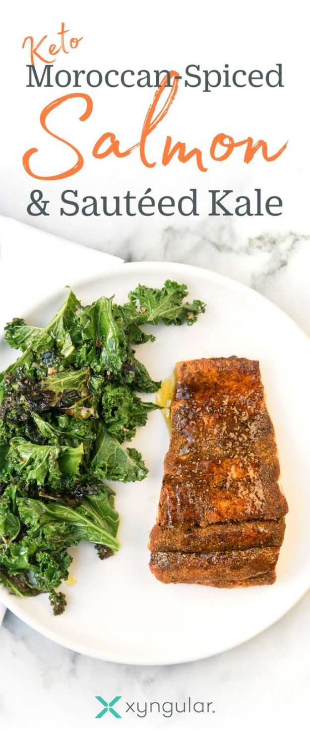Best Kale Recipes - Moroccan-Spiced Salmon With Sauteed Kale - How to Cook Kale at Home - Healthy Green Vegetable Cooking for Salads, Soup, Lunches, Stir Fry and Dinner - Kale Chips. Salad, Shredded, Cooked, Fresh and Sauteed Kale - Vegan, Vegetarian, Keto, Low Carb and Lowfat Recipe Ideas #kale #kalerecipes #vegetablerecipes #veggies #recipeideas #dinnerideas http://diyjoy.com/best-kale-recipes