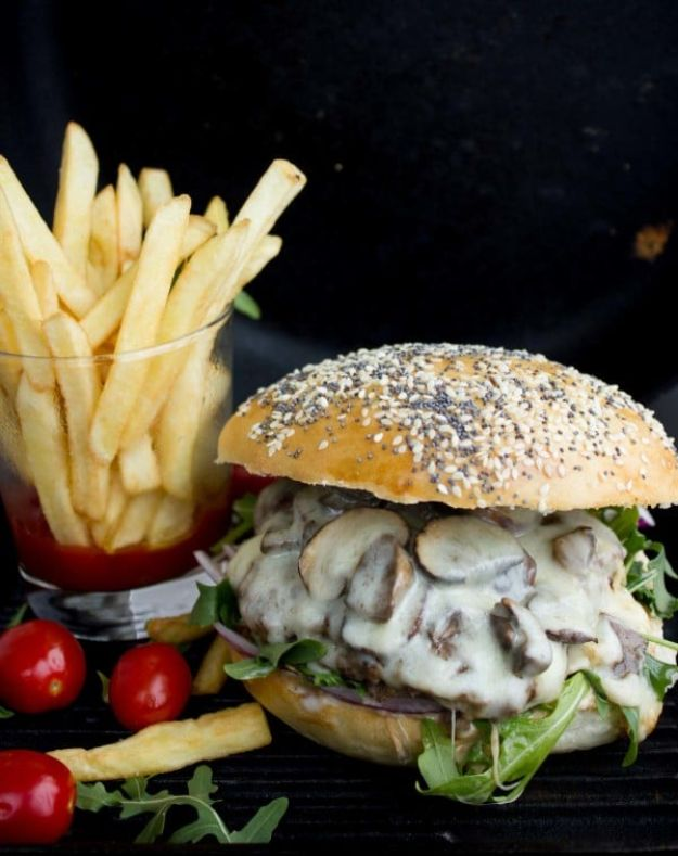 Best Recipes for the Cheese Lover - Mushroom Swiss Cheese Burger - Easy Recipe Ideas With Cheese - Homemade Appetizers, Dips, Dinners, Snacks, Pasta Dishes, Healthy Lunches and Soups Made With Your Favorite Cheeses - Ricotta, Cheddar, Swiss, Parmesan, Goat Chevre, Mozzarella and Feta Ideas - Grilled, Healthy, Vegan and Vegetarian #cheeserecipes #recipes #recipeideas #cheese #cheeserecipe