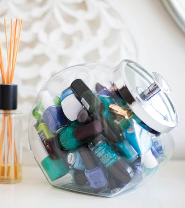 Dollar Store Organizing Ideas - Nail Polish Organizer - Easy Organization Projects from Dollar Tree and Dollar Stores - Quick Closet Makeovers, Pantry Storage, Shoe Box Projects, Tension Rods, Car and Household Cleaning - Hacks and Tips for Organizing on a Budget - Cheap Idea for Reducing Clutter around the House, in the Kitchen and Bedroom http://diyjoy.com/dollar-store-organizing-ideas
