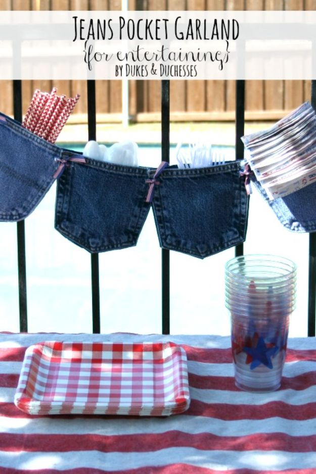 Blue Jean Upcycles - No-Sew Jeans Pocket Garland - Ways to Make Old Denim Jeans Into DIY Home Decor, Handmade Gifts and Creative Fashion - Transform Old Blue Jeans into Pillows, Rugs, Kitchen and Living Room Decor, Easy Sewing Projects for Beginners http://diyjoy.com/diy-blue-jeans-upcyle-ideas