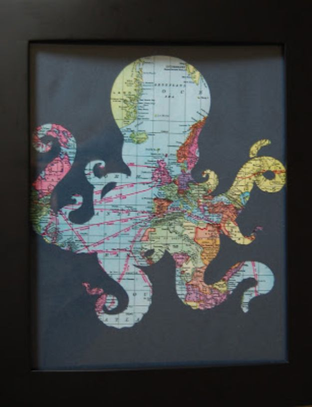 DIY Ideas With Maps - Octopus Frame Print for a Pirate Room - Easy Crafts, Home Decor, Art and Gifts Your Can Make With A Map - Pinboard, Canvas, Painting, Paper Flowers, Signs Projects