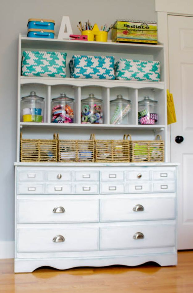Craft Room Organization Ideas - Old Dresser for Craft Room Storage - DIY Dollar Store Projects for Crafts - Budget Ways to Declutter While Organizing Supplies - Shelves, IKEA Hacks, Small Space Ideas