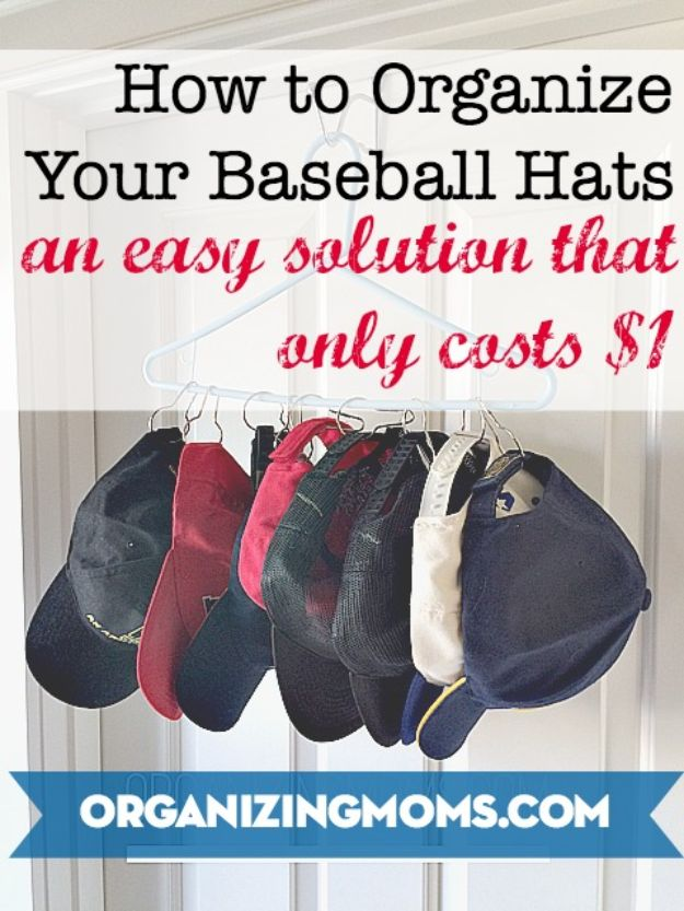 Dollar Store Organizing Ideas - Organize Your Baseball Hats for a Dollar - Easy Organization Projects from Dollar Tree and Dollar Stores - Quick Closet Makeovers, Pantry Storage, Shoe Box Projects, Tension Rods, Car and Household Cleaning - Hacks and Tips for Organizing on a Budget - Cheap Idea for Reducing Clutter around the House, in the Kitchen and Bedroom http://diyjoy.com/dollar-store-organizing-ideas