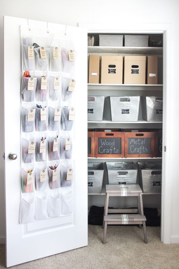 Craft Room Organization Ideas - Organize a Craft Closet - DIY Dollar Store Projects for Crafts - Budget Ways to Declutter While Organizing Supplies - Shelves, IKEA Hacks, Small Space Ideas