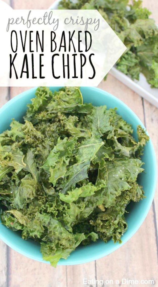 Best Kale Recipes - Oven Baked Kale Chips - Healthy Green Vegetable Cooking for Salads, Soup, Lunches, Stir Fry and Dinner - Kale Chips. Salad, Shredded, Cooked, Fresh and Sauteed Kale - Vegan, Vegetarian, Keto, Low Carb and Lowfat Recipe Ideas #kale #kalerecipes #vegetablerecipes #veggies #recipeideas #dinnerideas http://diyjoy.com/best-kale-recipes