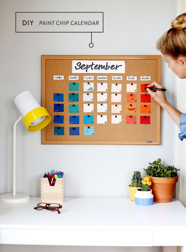 DIY Calendars - Paint Chip Calendar - Homemade Calender Ideas That Make Great Cheap Gifts for Christmas - Desk, Wall and Glass Dry Erase Organizing Calendar Projects With Step by Step Tutorials - Paint, Stamp, Magnetic, Family Planner and Organizer #diycalendar #diyideas #crafts #calendars #organizing #diygifts #calendars #diyideas