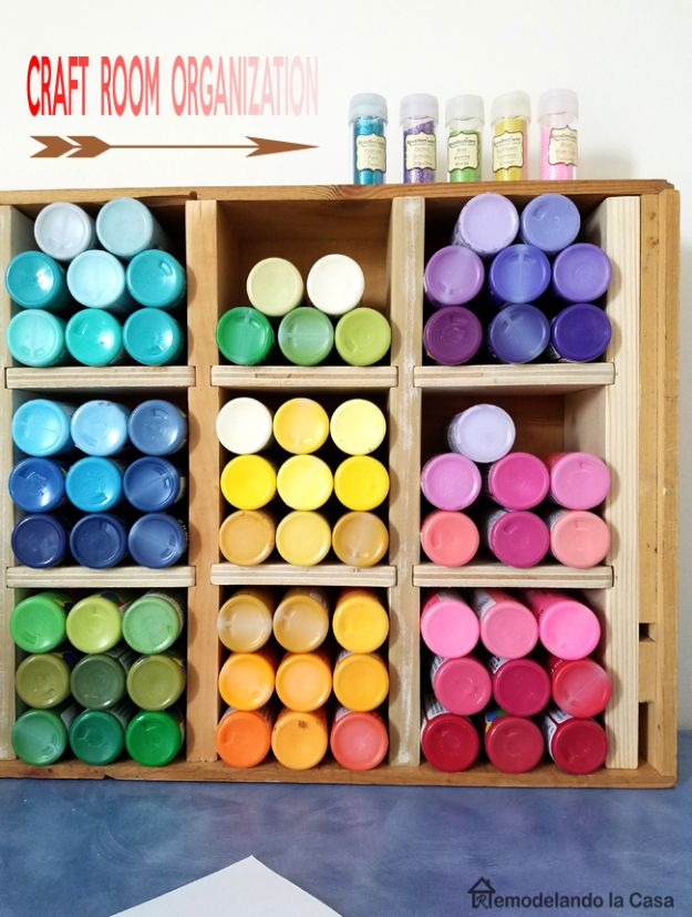 Craft Room Organization Ideas - Paint Storage Box - DIY Dollar Store Projects for Crafts - Budget Ways to Declutter While Organizing Supplies - Shelves, IKEA Hacks, Small Space Ideas