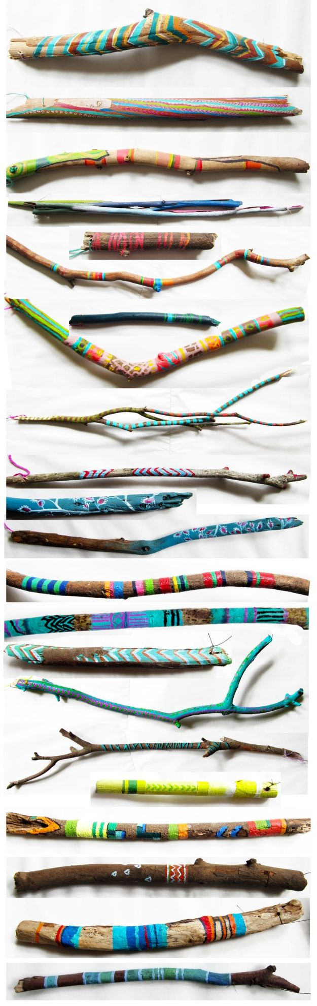 DIY Boho Decor Ideas - Painted Boho Sticks - DIY Bedroom Ideas - Cheap Hippie Crafts and Bohemian Wall Art - Easy Upcycling Projects for Living Room, Bathroom, Kitchen #boho #diy #diydecor