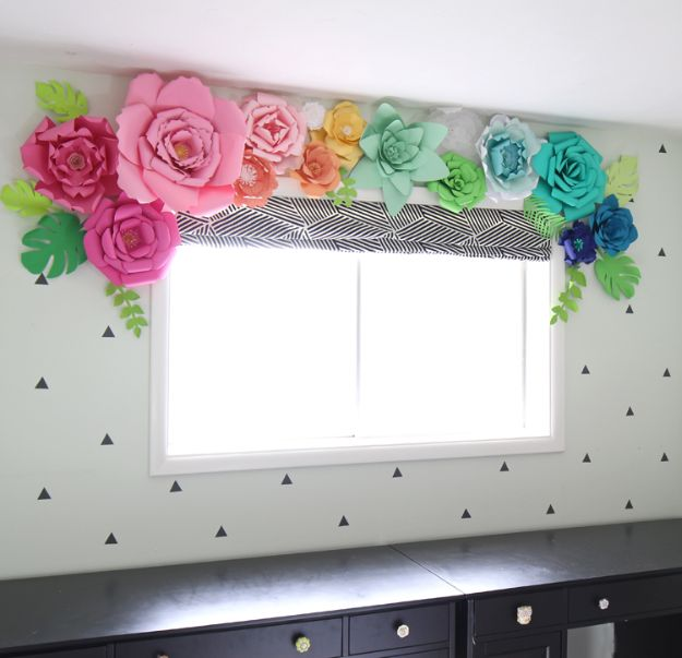 Craft Room Organization Ideas - Paper Flower Window Treatment - DIY Dollar Store Projects for Crafts - Budget Ways to Declutter While Organizing Supplies - Shelves, IKEA Hacks, Small Space Ideas