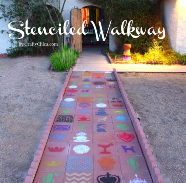 DIY Walkways - Paved & Stenciled Walkway - Do It Yourself Walkway Ideas for Paths to The Front Door and Backyard - Cheap and Easy Pavers and Concrete Path and Stepping Stones - Wood and Edging, Lights, Backyard and Patio Walks With Gravel, Sand, Dirt and Brick #diyideas