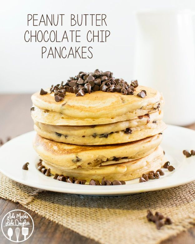 Best Pancake Recipes - Peanut Butter Chocolate Chip Pancakes - Homemade Pancakes With Banana, Berries, Fruit and Maple Syrup - How To Make Pancake Mix at Home - Gluten Free, Low Fat and Healthy Recipes - Breakfast and Brunch Recipe Ideas - Silver Dollar, Buttermilk, Make Ahead and Quick Versions With Strawberries and Blueberries #pancakes #pancakerecipes #recipeideas #breakfast #breakfastrecipes http://diyjoy.com/pancake-recipes