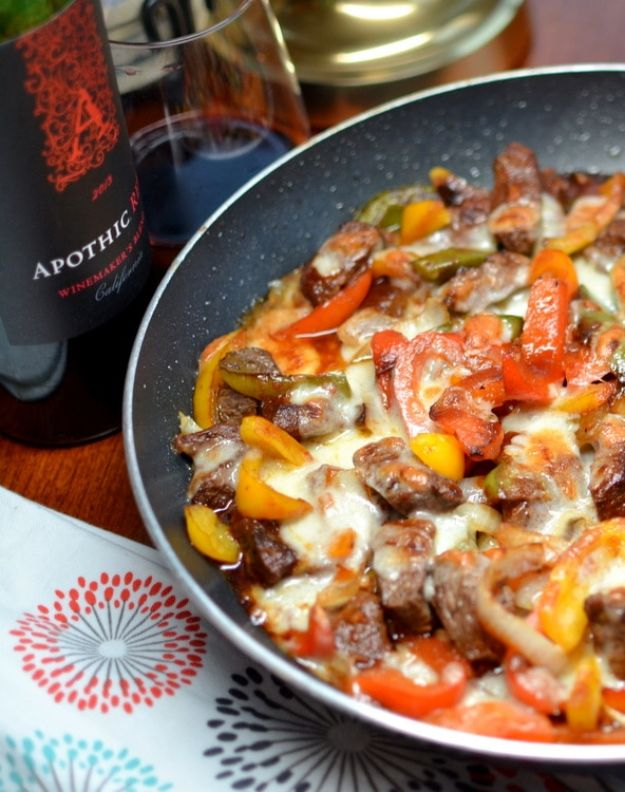 Best Recipes for the Cheese Lover - Philly Steak & Cheese Skillet - Easy Recipe Ideas With Cheese - Homemade Appetizers, Dips, Dinners, Snacks, Pasta Dishes, Healthy Lunches and Soups Made With Your Favorite Cheeses - Ricotta, Cheddar, Swiss, Parmesan, Goat Chevre, Mozzarella and Feta Ideas - Grilled, Healthy, Vegan and Vegetarian #cheeserecipes #recipes #recipeideas #cheese #cheeserecipe