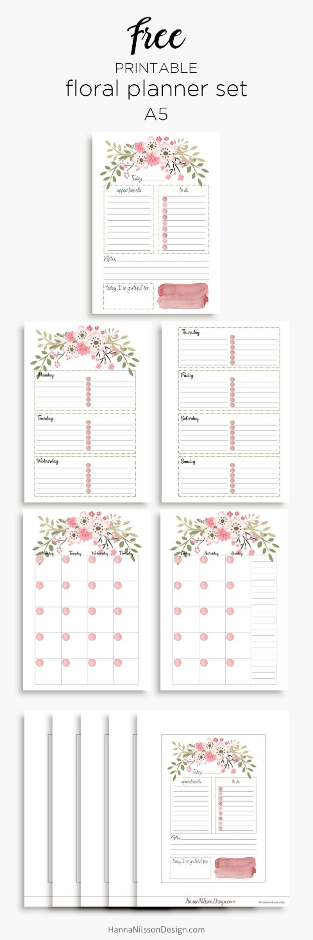 DIY Calendars - Pink Floral Planner Calendar Inserts - Homemade Calender Ideas That Make Great Cheap Gifts for Christmas - Desk, Wall and Glass Dry Erase Organizing Calendar Projects With Step by Step Tutorials - Paint, Stamp, Magnetic, Family Planner and Organizer #diycalendar #diyideas #crafts #calendars #organizing #diygifts #calendars #diyideas