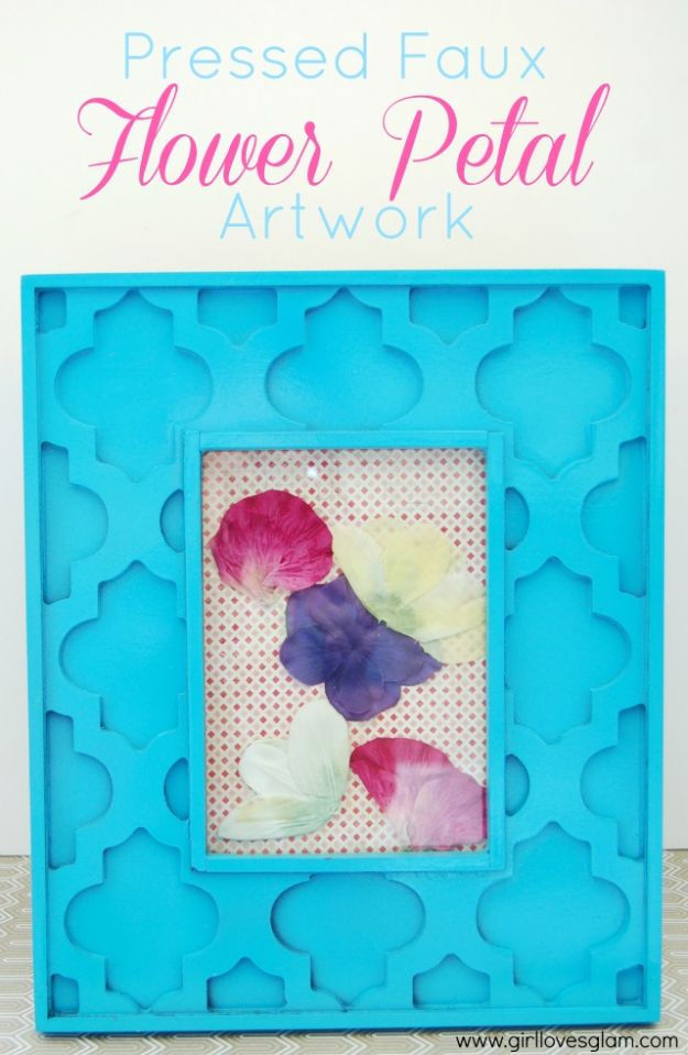 DIY Ideas With Faux Flowers - Pressed Faux Flower Petal Artwork - Paper, Fabric, Silk and Plastic Flower Crafts - Easy Arrangements, Wedding Decorations, Wall, Decorations, Letters, Cheap Home Decor