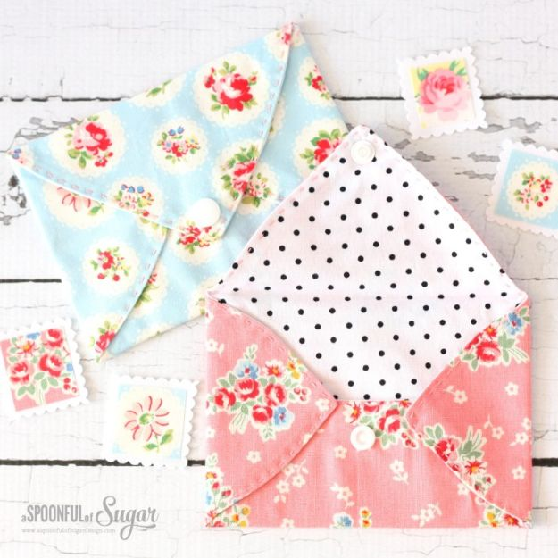 DIY Sewing Projects for the Home - Pretty Fabric Envelopes - Easy DIY Christmas Gifts and Ideas for Making Kitchen, Bedroom and Bathroom Decor - Free Step by Step Tutorial to Sew