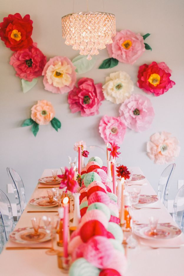 Pretty In Pink Flower WallDIY Ideas With Faux Flowers - Pretty In Pink Flower Wall - Paper, Fabric, Silk and Plastic Flower Crafts - Easy Arrangements, Wedding Decorations, Wall, Decorations, Letters, Cheap Home Decor