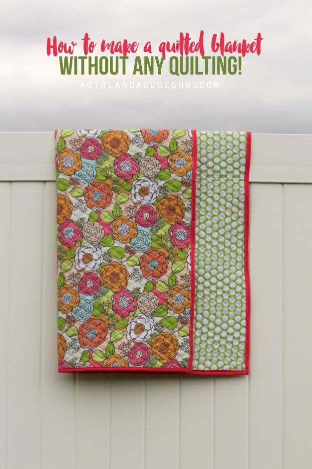 DIY Throw Blankets - Quilted Blanket Knockoff - How to Make Easy Throws and Blanket - Fleece Fabrics, No Sew Tutorial, Crochet, Boho, Fur, Cotton, Flannel Ideas #diyideas #diydecor #diy