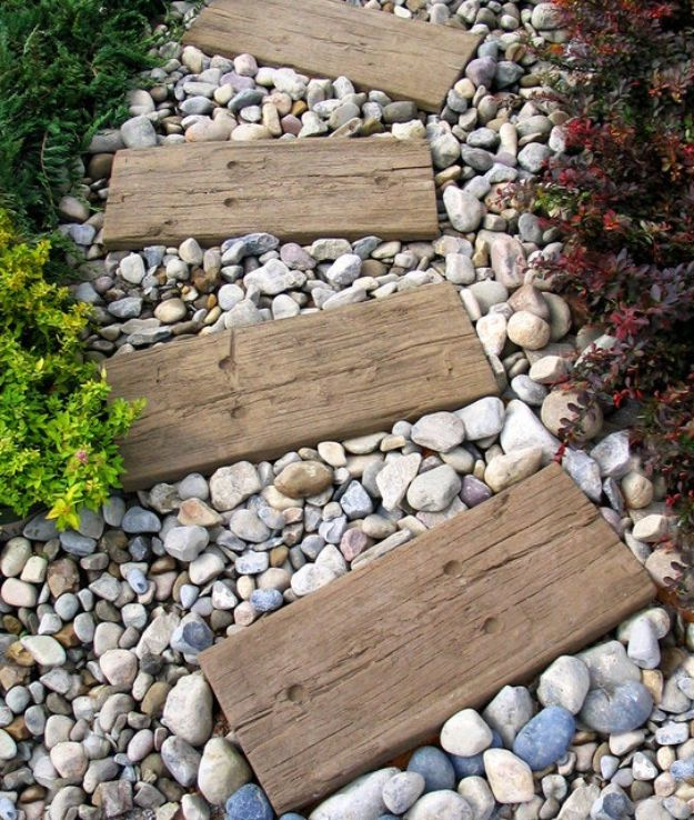 DIY Walkways - Railroad Tie Walkway - Do It Yourself Walkway Ideas for Paths to The Front Door and Backyard - Cheap and Easy Pavers and Concrete Path and Stepping Stones - Wood and Edging, Lights, Backyard and Patio Walks With Gravel, Sand, Dirt and Brick #diyideas