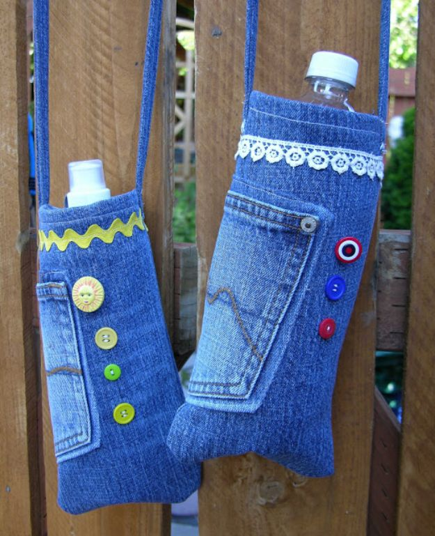 Blue Jean Upcycles - Re-Purposed Denim Water Bottle Bags - Ways to Make Old Denim Jeans Into DIY Home Decor, Handmade Gifts and Creative Fashion - Transform Old Blue Jeans into Pillows, Rugs, Kitchen and Living Room Decor, Easy Sewing Projects for Beginners #sewing #diy #crafts #upcycle