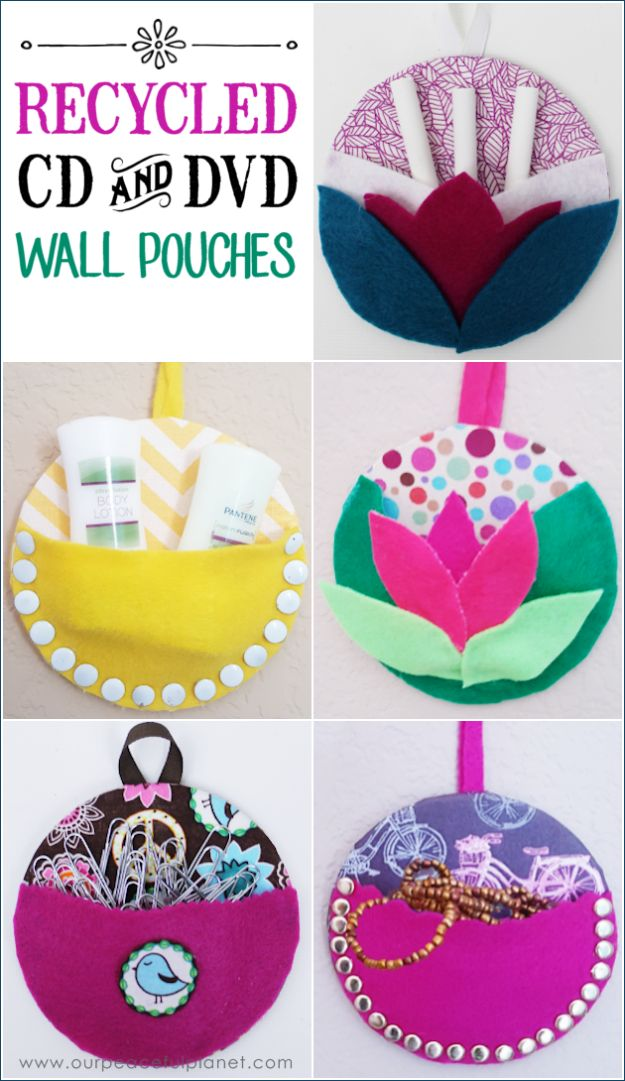 DIY Ideas With Old CD - Recycle CDs Into Wall Pouches - Recycle Jewelry, Room Decoration Mosaic, Coasters, Garden Art and DIY Home Decor Using Broken DVD - Photo Album, Wall Art and Mirror - Cute and Easy DIY Gifts for Birthday and Christmas Holidays