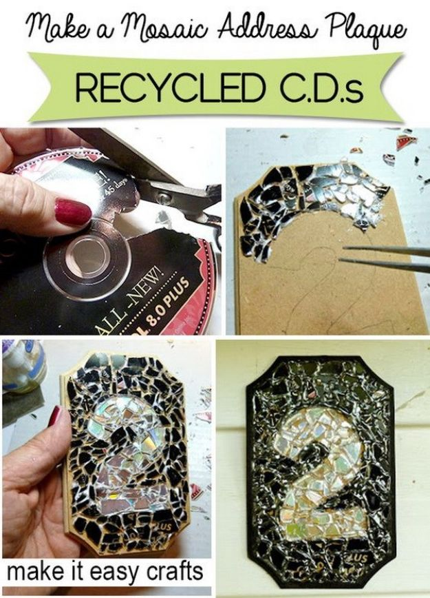 DIY Ideas With Old CD - Recycled CD Mosaic House Number Plaque - Recycle Jewelry, Room Decoration Mosaic, Coasters, Garden Art and DIY Home Decor Using Broken DVD - Photo Album, Wall Art and Mirror - Cute and Easy DIY Gifts for Birthday and Christmas Holidays