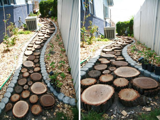 DIY Walkways - Recycled Wood Slice Garden Pathway - Do It Yourself Walkway Ideas for Paths to The Front Door and Backyard - Cheap and Easy Pavers and Concrete Path and Stepping Stones - Wood and Edging, Lights, Backyard and Patio Walks With Gravel, Sand, Dirt and Brick http://diyjoy.com/diy-walkways