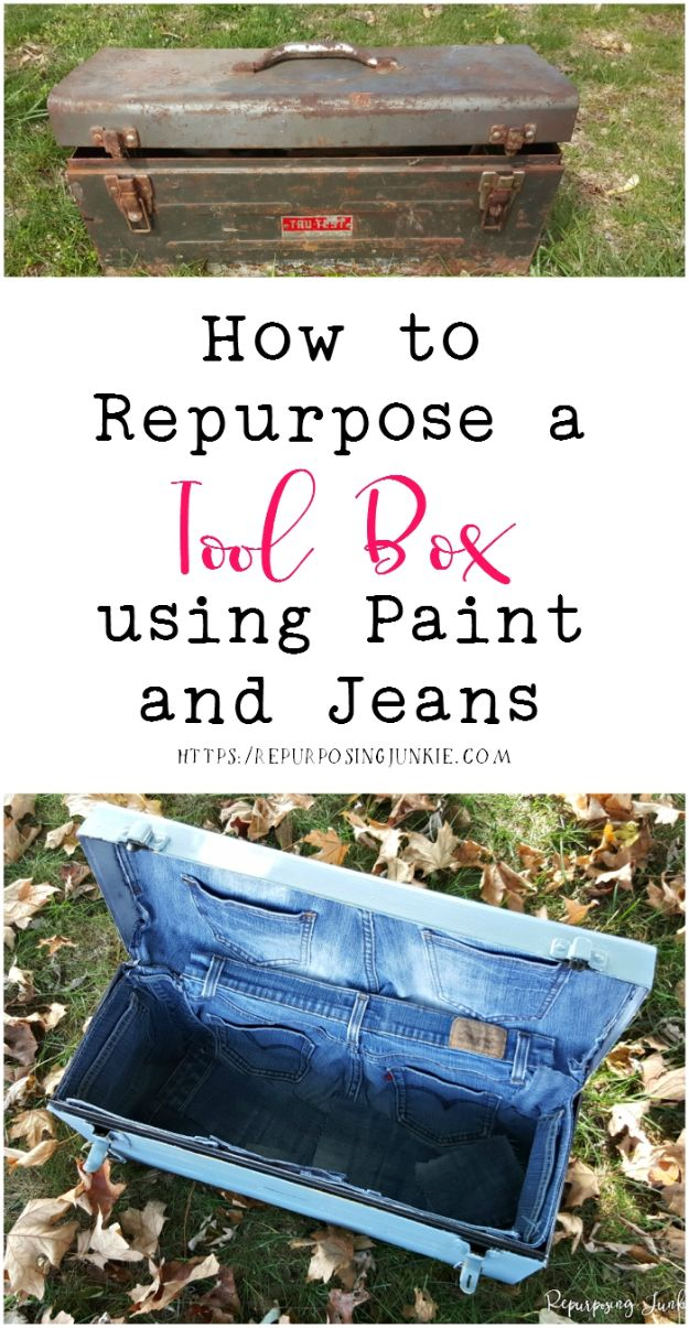 Blue Jean Upcycles - Repurpose a Toolbox using Paint and Jeans - Ways to Make Old Denim Jeans Into DIY Home Decor, Handmade Gifts and Creative Fashion - Transform Old Blue Jeans into Pillows, Rugs, Kitchen and Living Room Decor, Easy Sewing Projects for Beginners http://diyjoy.com/diy-blue-jeans-upcyle-ideas