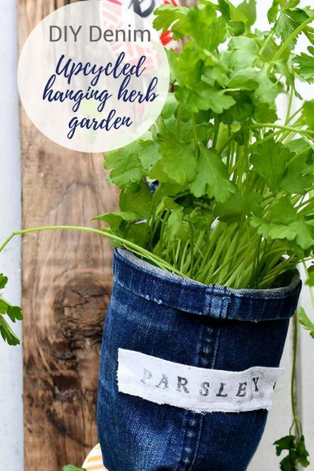 Blue Jean Upcycles - Repurposed Jeans Into Indoor Herb Garden Planters - Ways to Make Old Denim Jeans Into DIY Home Decor, Handmade Gifts and Creative Fashion - Transform Old Blue Jeans into Pillows, Rugs, Kitchen and Living Room Decor, Easy Sewing Projects for Beginners #sewing #diy #crafts #upcycle