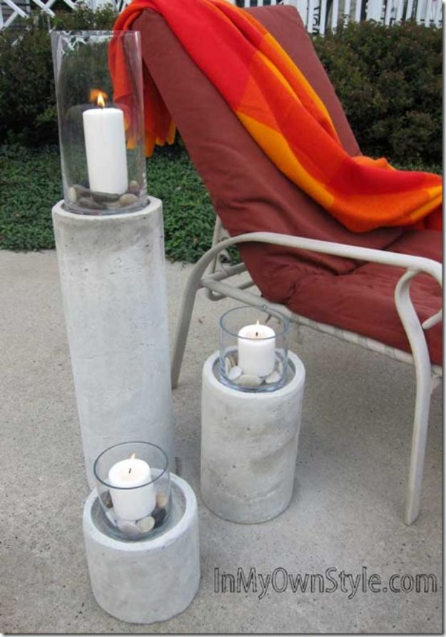 DIY Projects With Concrete - Restoration Hardware Concrete Fire Columns - Easy Home Decor and Cheap Crafts Made With Cement - Ideas for DIY Christmas Gifts, Outdoor Decorations