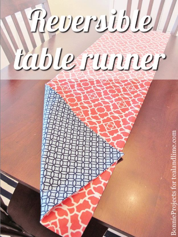 DIY Sewing Projects for the Home - Reversible Table Runner - Easy DIY Christmas Gifts and Ideas for Making Kitchen, Bedroom and Bathroom Decor - Free Step by Step Tutorial to Sew