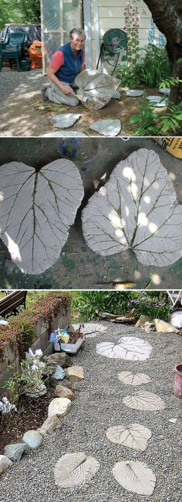 DIY Walkways - Rhubarb Leaf Stepping Stones - Do It Yourself Walkway Ideas for Paths to The Front Door and Backyard - Cheap and Easy Pavers and Concrete Path and Stepping Stones - Wood and Edging, Lights, Backyard and Patio Walks With Gravel, Sand, Dirt and Brick #diyideas