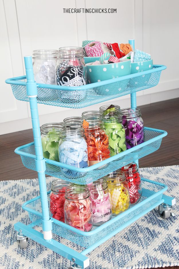 Craft Room Organization Ideas - Ribbon Organization Cart - DIY Dollar Store Projects for Crafts - Budget Ways to Declutter While Organizing Supplies - Shelves, IKEA Hacks, Small Space Ideas