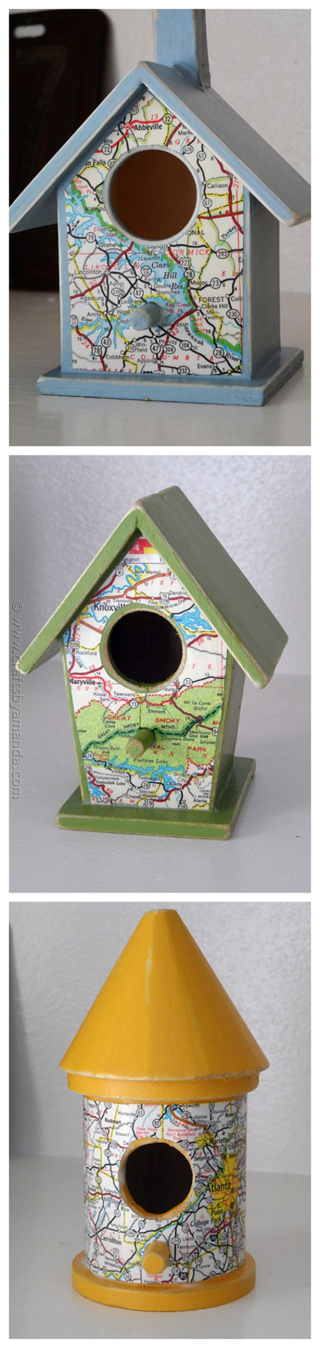 Road Map BirdhouDIY Ideas With Maps - Road Map Birdhouses - Easy Crafts, Home Decor, Art and Gifts Your Can Make With A Map - Pinboard, Canvas, Painting, Paper Flowers, Signs Projectsses